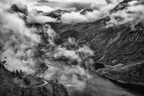 Landscape Art Print featuring the photograph Geiranger Fjord by A A