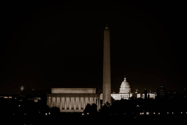 4th Of July Print featuring the photograph Monuments In Black And White by David Hahn