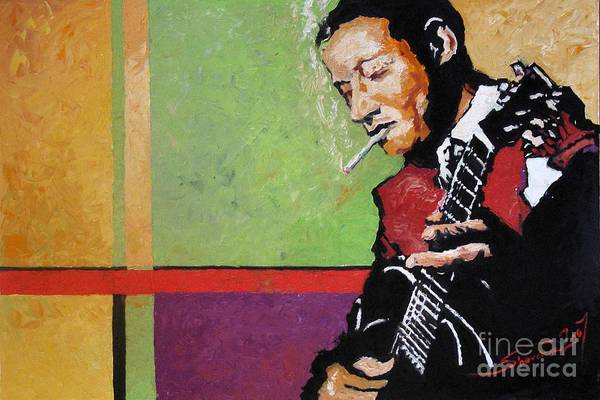 Jazz Art Print featuring the painting Jazz Guitarist by Yuriy Shevchuk
