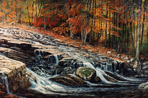 Landscape Art Print featuring the painting Autumn Cascade by Frank Wilson