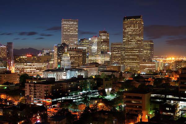 Denver Art Print featuring the photograph Denver Evening Skyline by Steve Mohlenkamp