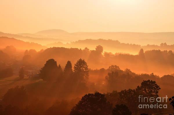 Sunrise Art Print featuring the photograph Misty Mountain Sunrise by Thomas R Fletcher
