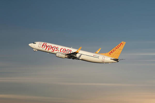 Pegasus Art Print featuring the mixed media Pegasus Airlines Boeing 737-82r by Smart Aviation