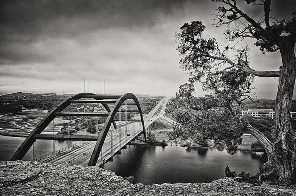 360 Bridge Art Print featuring the photograph Austin 360 Bridge In Early Dawn by Lisa Spencer