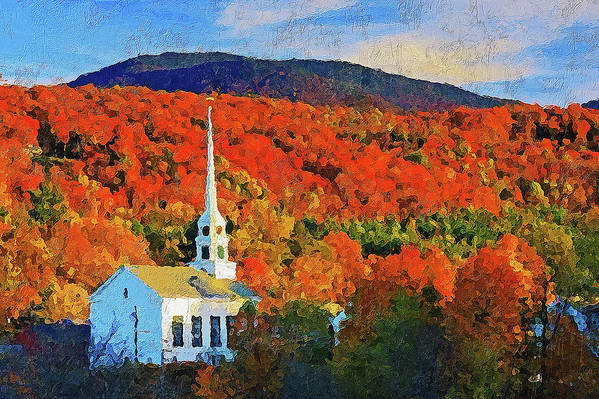 New England Landscape Art Print featuring the painting Autumn In New England - 04 by Andrea Mazzocchetti