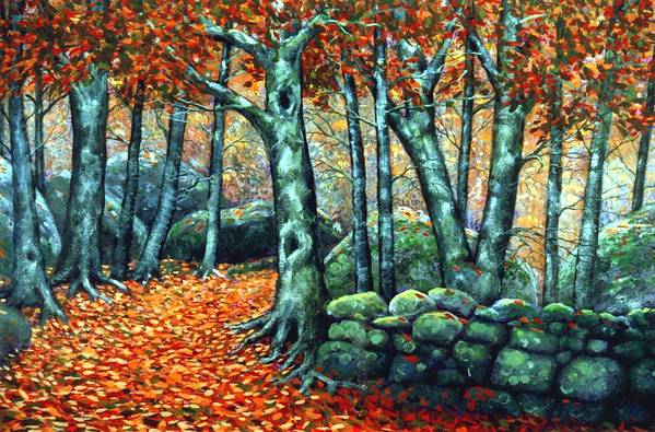 Landscape Art Print featuring the painting Beech Woods by Frank Wilson