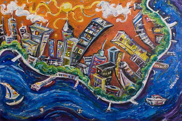 New York City Manhattan Hudson River Art Print featuring the painting Burning City by Jason Gluskin