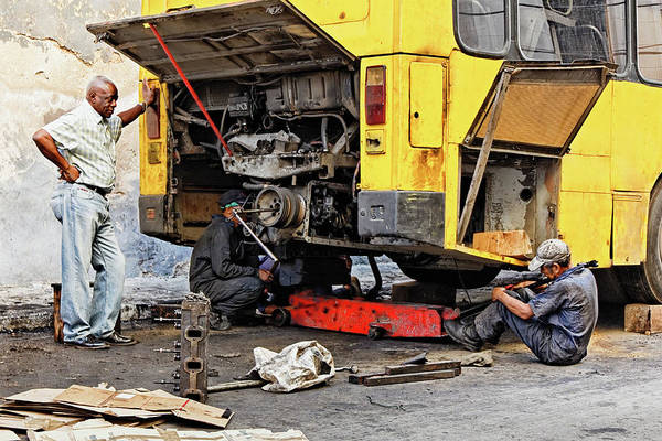 Auto Mechanic Art Print featuring the photograph Bus Repairs by Dawn Currie