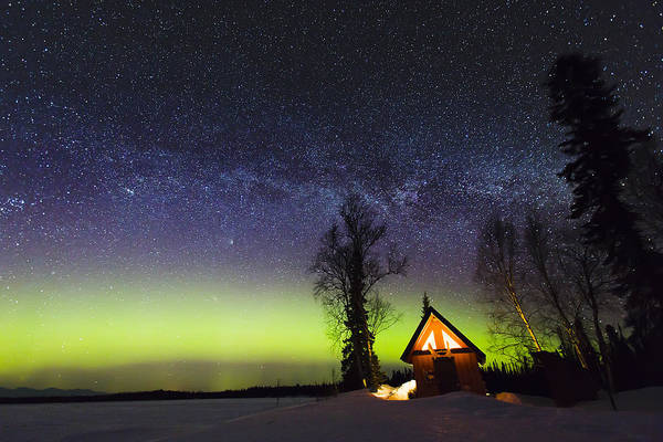 Alaska Print featuring the photograph Cabins Glow by Ed Boudreau