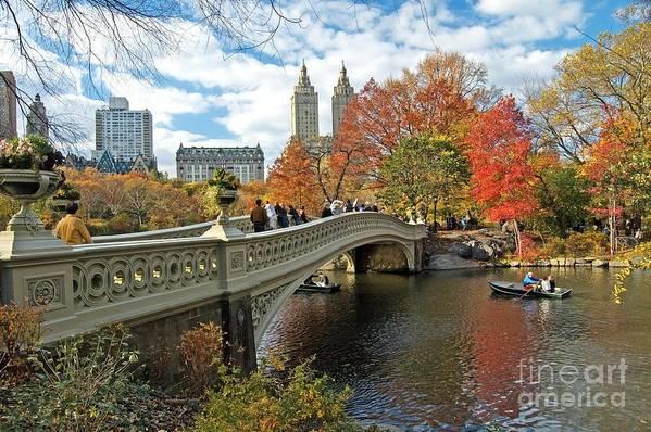 Autumn Art Print featuring the photograph Central Park Autumn Cityscape by Allan Einhorn