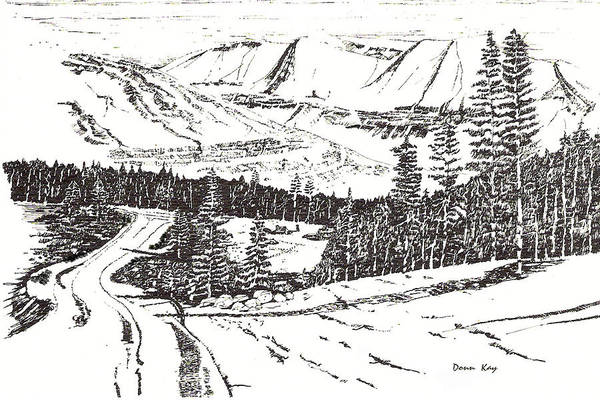 Colorado Mountains Snow Ink Drawing Art Print featuring the drawing Colorado Mountain Foothills by Donn Kay
