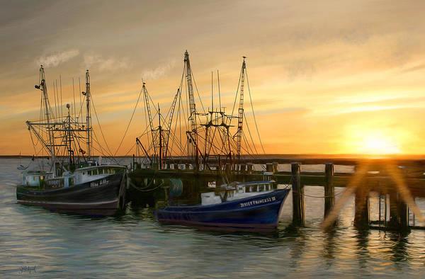 Boats Art Print featuring the digital art Daybreak by Sue Brehant