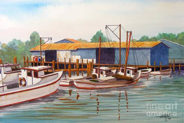 Landscape Art Print featuring the painting Deadrise Dock by Hugh Harris