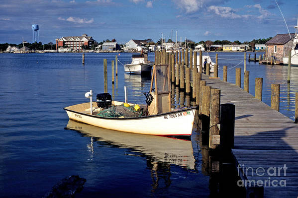 Usa Art Print featuring the photograph Fishing Boats At Dock Ocracoke Village by Thomas R Fletcher