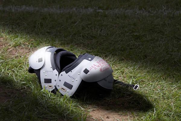 Football Art Print featuring the photograph Football Shoulder Pads by Tom Mc Nemar