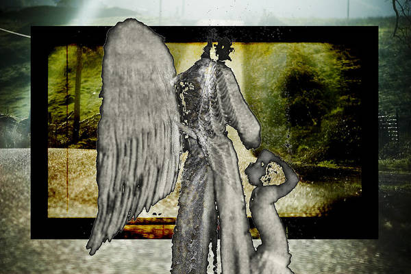 Digital Art Print featuring the photograph Framed Angel by Tony Wood