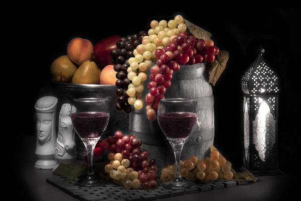 Antique Art Print featuring the photograph Fruity Wine Still Life Selective Coloring by Tom Mc Nemar