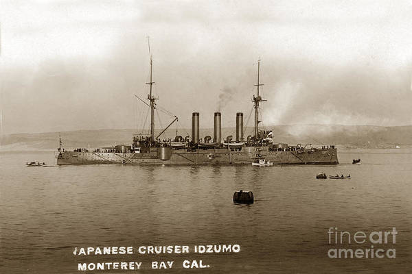Japanese Cruiser Art Print featuring the photograph Japanese Cruiser Izumo In Monterey Bay December 1913 by California Views Archives Mr Pat Hathaway Archives