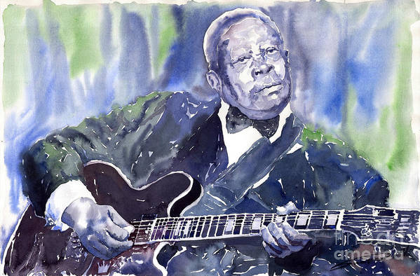 Jazz Bbking Music Watercolor Watercolour Guitarist Portret Art Print featuring the painting Jazz B B King 01 by Yuriy Shevchuk