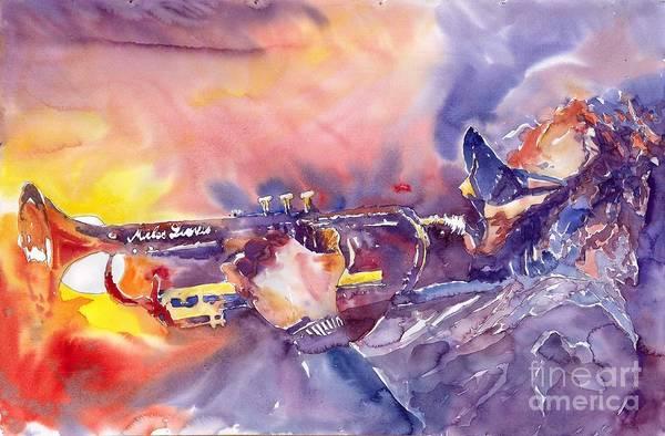 Jazz Watercolor Miles Davis Music Musician Trumpeter Figurative Watercolour Art Print featuring the painting Jazz Miles Davis Electric 1 by Yuriy Shevchuk