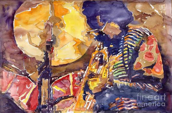 Miles Davis Figurative Jazz Miles Music Musiciant Trumpeter Watercolor Watercolour Art Print featuring the painting Jazz Miles Davis Electric 2 by Yuriy Shevchuk
