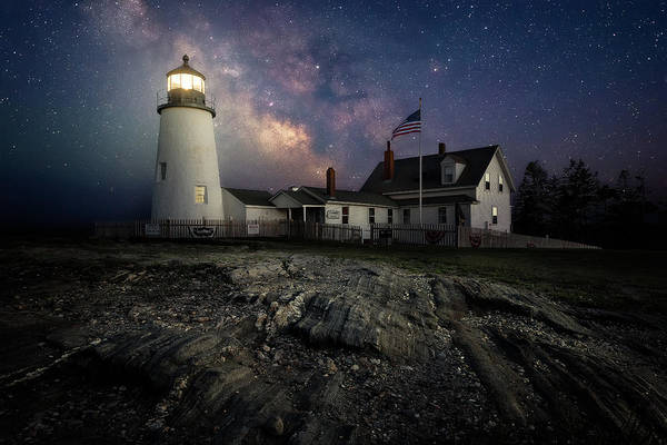 Milky Way Over Pemaquid Point Lighthouse Art Print By Jeff