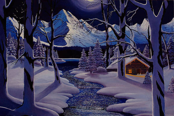 Winter Art Print featuring the painting Moonlit Cabin by Mark Regni