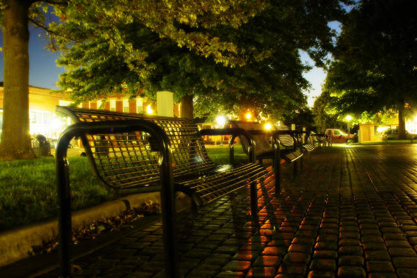 Night Art Print featuring the photograph Night Bench by Carl Perry