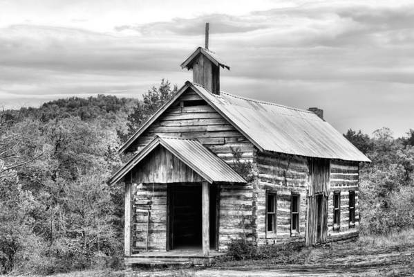 Church Art Print featuring the photograph Old Time Religion Bw by JC Findley