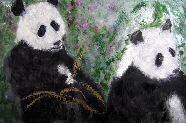 Animal Art Print featuring the painting Pandas With Golden Bamboo by Michela Akers