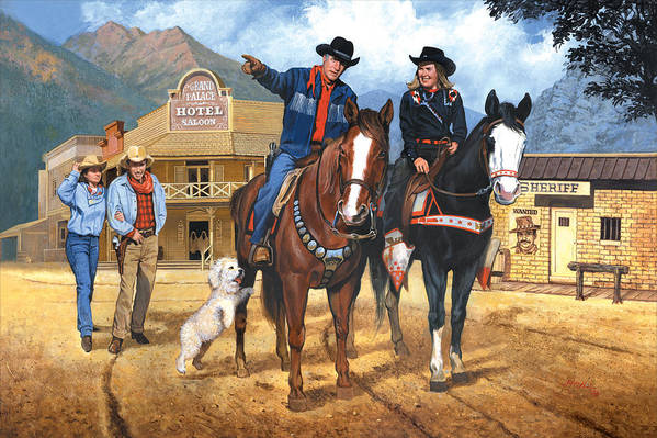 Western Art Print featuring the painting Portrait Of Harry And Pat Bernstein by Harold Shull
