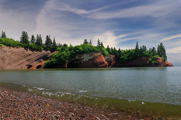 Red sandstone sea caves at St Martins New Brunswick at Bay of Fu by Reimar Gaertner