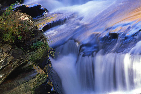 Waterfall Art Print featuring the photograph Reflected Light On Fall by Barry Shaffer