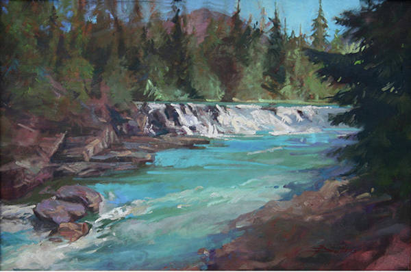 Glacier National Park Art Print featuring the painting Sacred Dancing Cascade by Betty Jean Billups