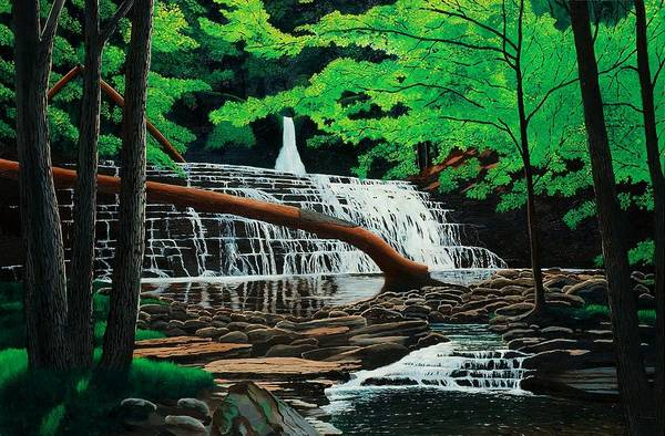 Waterfall Art Print featuring the painting Salt Springs by Mark Regni