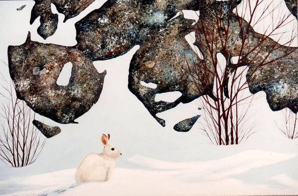 Wildlife Art Print featuring the painting Snow Ledges Rabbit by Frank Wilson