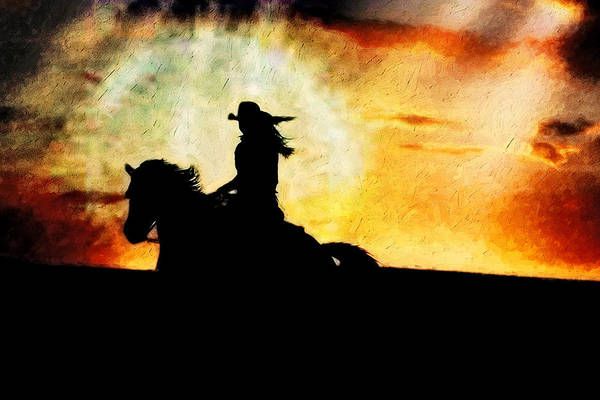 Horse Art Print featuring the photograph Sunset Rider by Nick Sokoloff