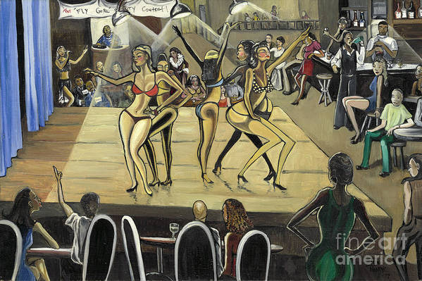 Caricature Art Print featuring the painting The Fly Girl Beauty Contest by Toni Thorne