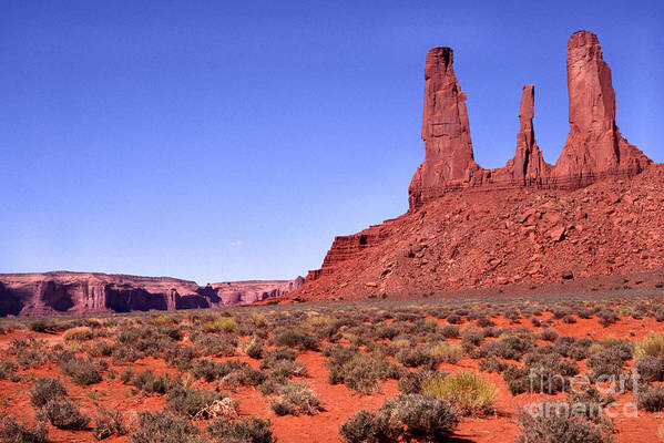 Usa Art Print featuring the photograph Three Sisters Navajo Tribal Park by Thomas R Fletcher