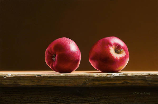 Stillife Art Print featuring the painting Two Apples by Mark Van crombrugge