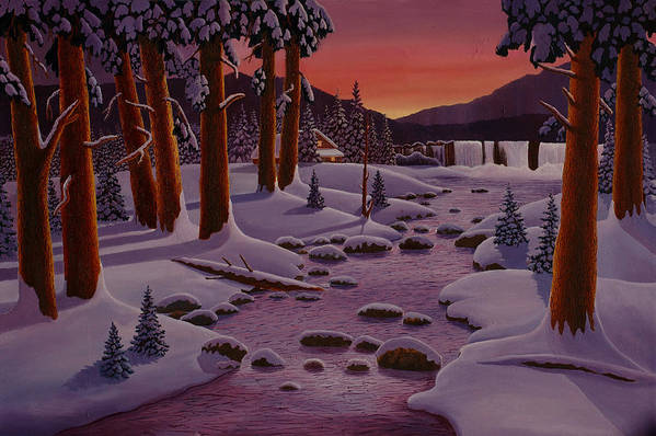 Landscape Art Print featuring the painting Winter Sunrise by Mark Regni
