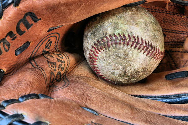 Baseball Art Print featuring the photograph Worn In by JC Findley