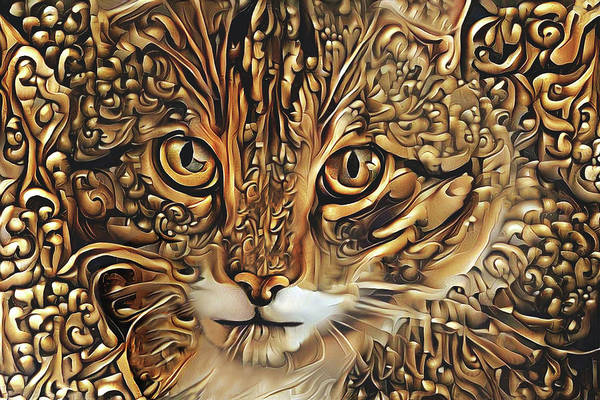 Abstract Gold Cat by Peggy Collins