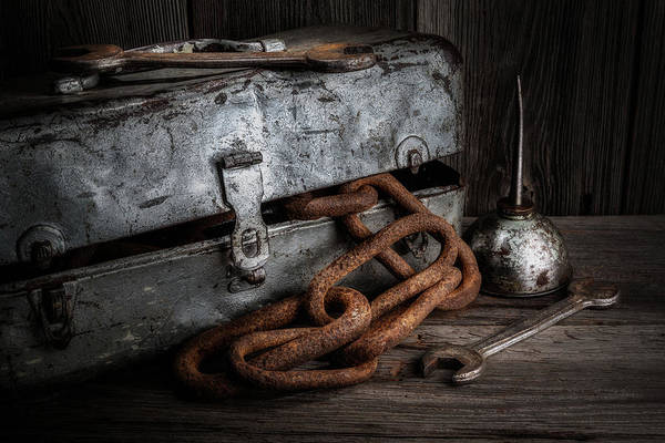 Bench Art Print featuring the photograph Painted Toolbox And Chain by Tom Mc Nemar