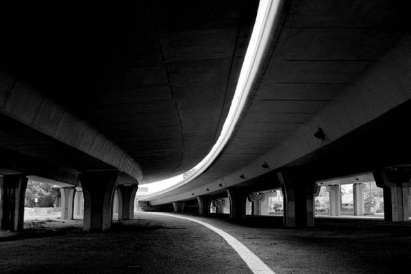 Freeway Art Print featuring the photograph Reflection In Shadow by Edward Swearingen