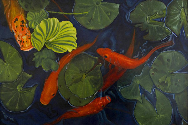 Painting Art Print featuring the painting Koi Ballet by Peter Muzyka