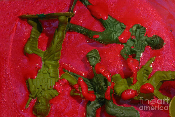 Aggression Art Print featuring the photograph Toy Soldiers In A Pool Of Blood by Amy Cicconi