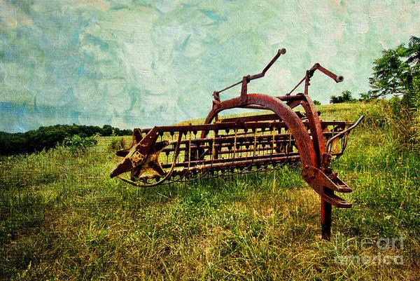 Farm Art Print featuring the digital art Farm Equipment In A Field by Amy Cicconi
