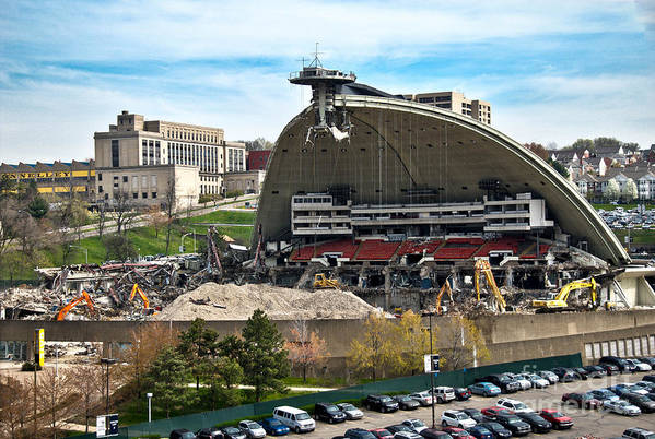 Bulldozers Art Print featuring the photograph Mellon Arena Partially Deconstructed by Amy Cicconi