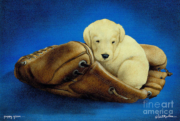 Will Bullas Art Print featuring the painting Puppy Glove... by Will Bullas